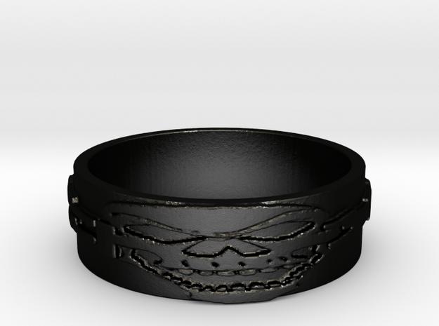 Skull Ring Size 9 in Matte Black Steel
