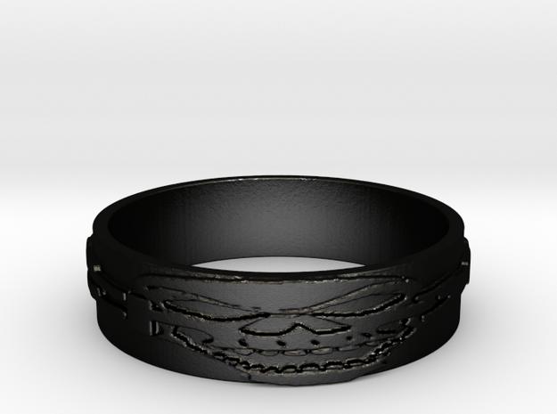 Skull Ring Size 13.5 in Matte Black Steel