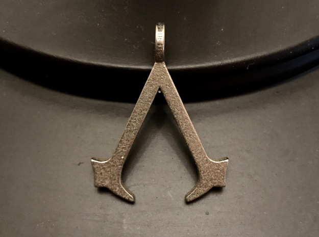 Assassin's Creed Keychain in Polished Bronzed Silver Steel