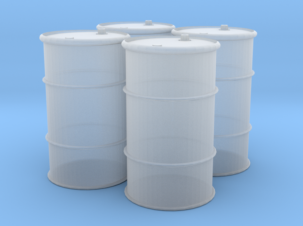 HO 55 Gallon Drum set of 4 in Frosted Ultra Detail