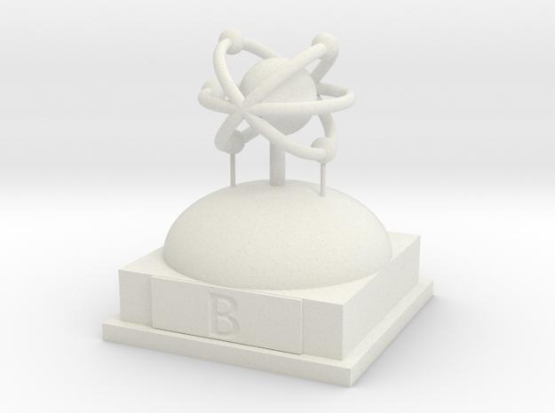 Boron Atomamodel in White Natural Versatile Plastic