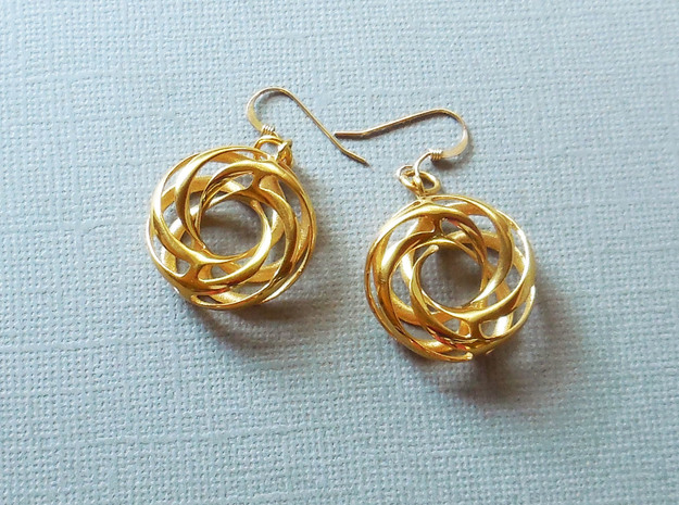 Twisted Torus Earrings in Precious Metals in 18k Gold Plated
