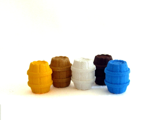 One Wooden Barrel 3d printed Example of painted barrels