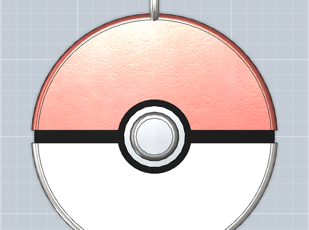 Pokeball Pendant 3d printed Front view