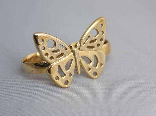 DOUBLE RING BUTTERFLY 3d printed Double ring with butterfly in Polished Bronze.