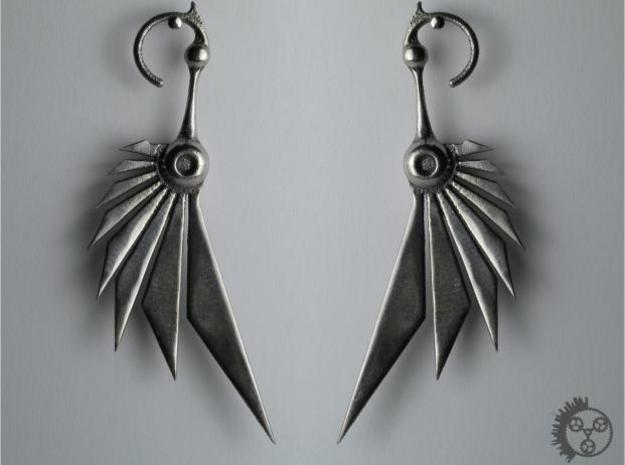 Bladewing Earrings 3d printed Polished Stainless