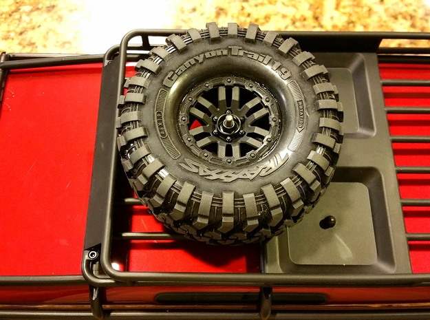 Traxxas TRX-4, Front Upper Spare Tire Mount in Black Natural Versatile Plastic