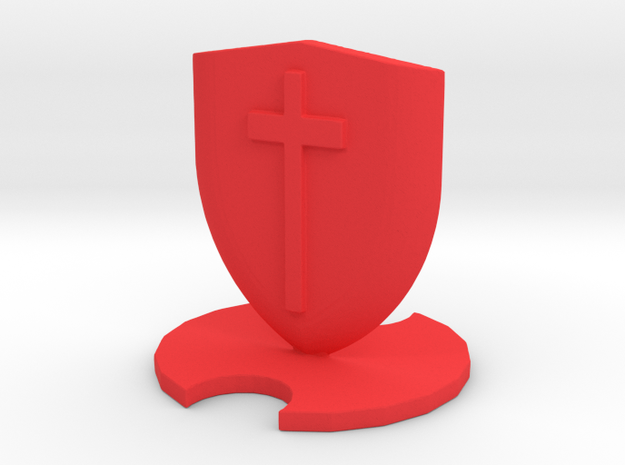 Medieval Chess Pawn in Red Processed Versatile Plastic