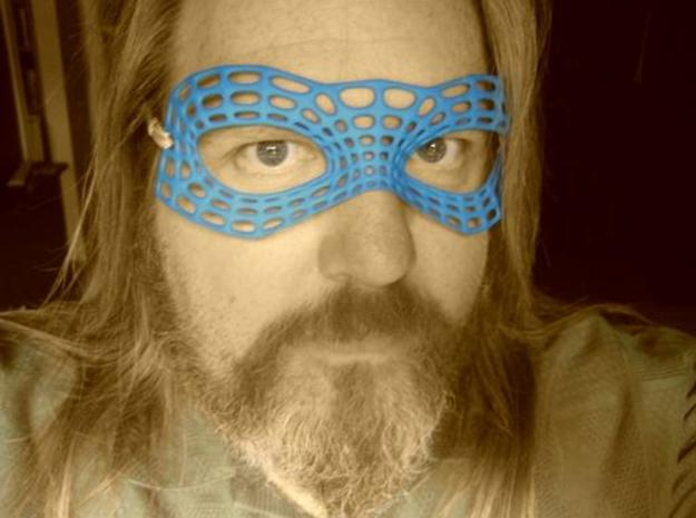 Mesh Mask 3d printed Good pic to show mask colour in summer blue dye.  Plus it's a shameless glamour shot.  I'm so glamourous.