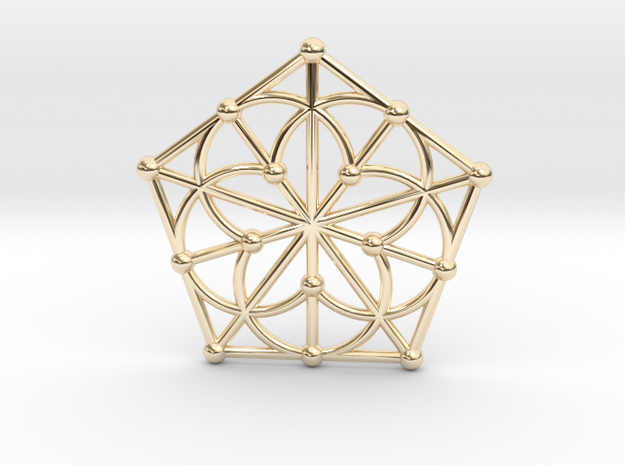 Generalized Quadrangle Pendant, Variation 1 in 14k Gold Plated Brass