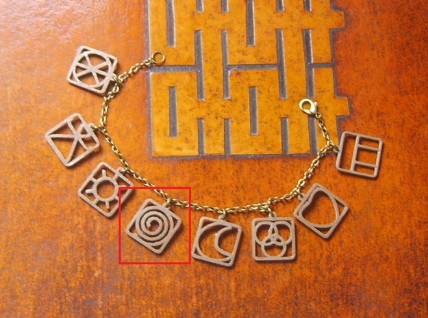 Wiccan - Life Pattern Charm in Polished Bronze
