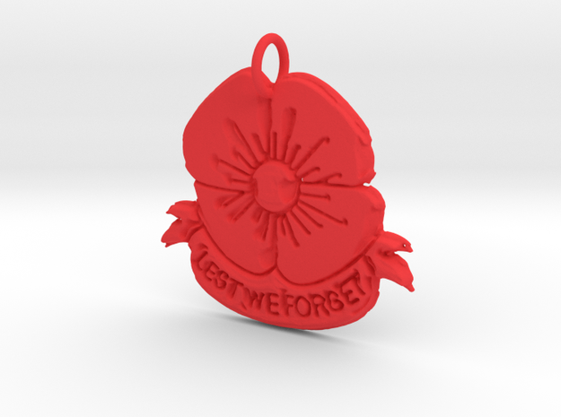 Poppy 2 Pendant in Red Processed Versatile Plastic