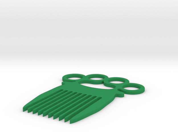 Knuckle-duster/Comb in Green Processed Versatile Plastic