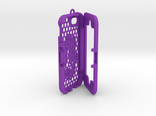 Custom designed 3D printed case for iphone 5S. in Purple Strong & Flexible Polished