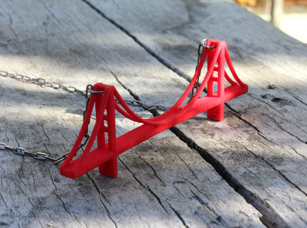 Golden Gate Bridge Pendant in Red Processed Versatile Plastic