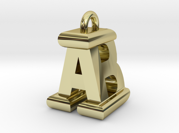 3D-Initial-AB in 18k Gold Plated Brass