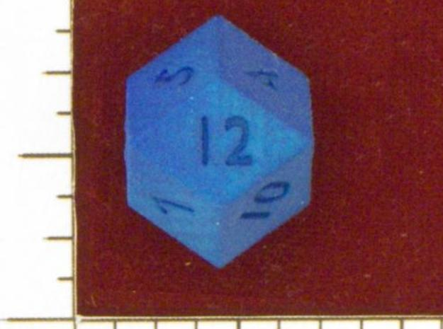 Rhombic 12-sided die 3d printed In Summer Blue Strong & Flexible. From www.dicecollector.com