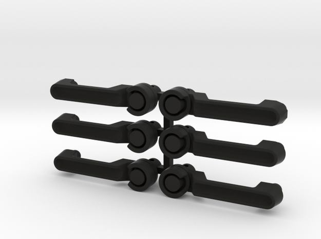 AJ10058 JK Door Handles Set of 6 in Black Strong & Flexible