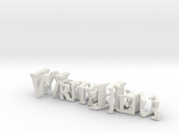 3dWordFlip: WriteHere/RightNow in White Natural Versatile Plastic