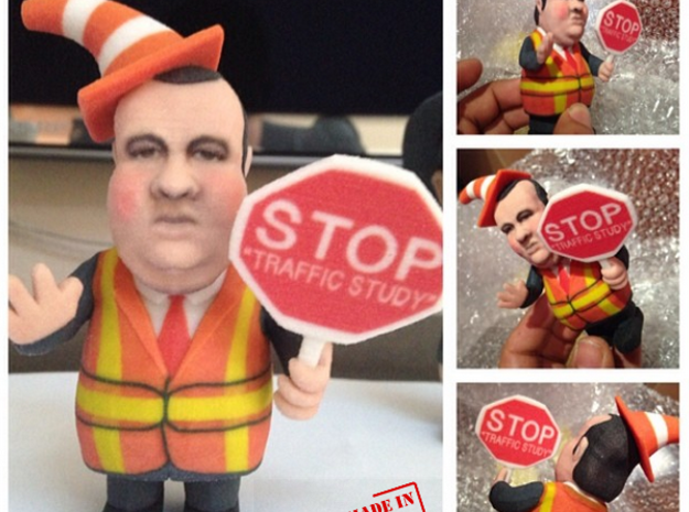 Chris Christie directing traffic BridgeGate in Full Color Sandstone