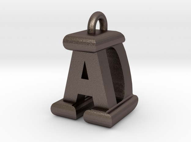 3D-Initial-AD in Polished Bronzed Silver Steel
