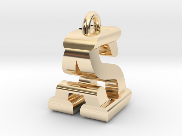 3D-Initial-AS in 14k Gold Plated Brass