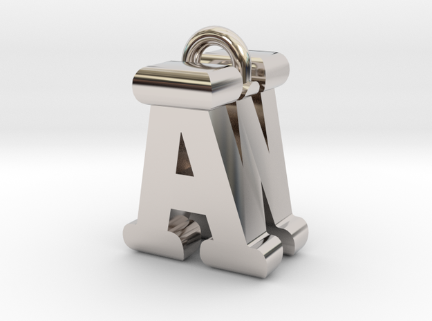 3D-Initial-AW in Rhodium Plated Brass