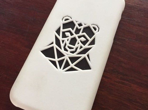 Iphone 7 Case, Geometric Bear in White Processed Versatile Plastic