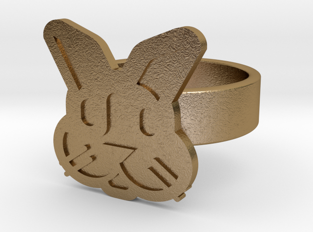 Rabbit Ring in Polished Gold Steel: 10 / 61.5