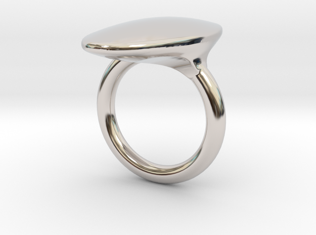 OvalRing - SIZE 9 US in Rhodium Plated Brass: 9 / 59