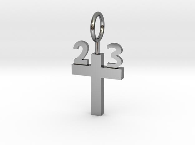 Custom 23 Cross Pendant in Fine Detail Polished Silver