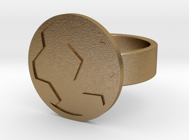 Soccer Ball Ring in Polished Gold Steel: 10 / 61.5