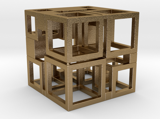 Perfect Cubed Cube Frame 41-20-1 in Polished Gold Steel