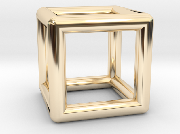 Hexahedron Cube Platonic Solid Pendant in 14k Gold Plated Brass