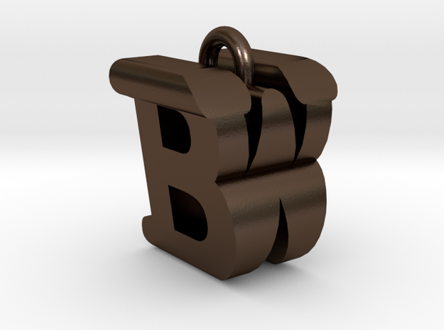 3D-Initial-BW in Polished Bronze Steel