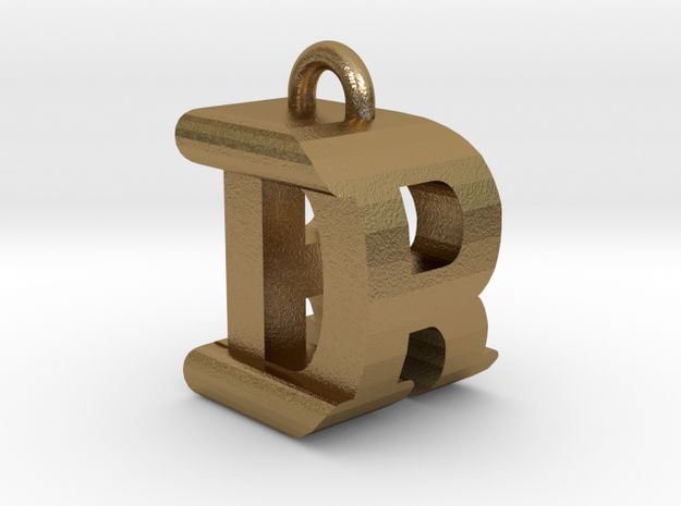 3D-Initial-DR in Polished Gold Steel