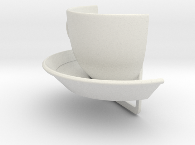 Clamp - decor with a cup and plate for a business  in White Strong & Flexible