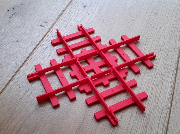 Tri-ang Big Big Train Track Crossing  in Red Strong & Flexible Polished