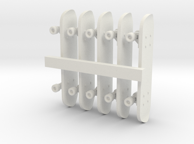 1/24 Scale Skateboards (5 Pack) in White Natural Versatile Plastic
