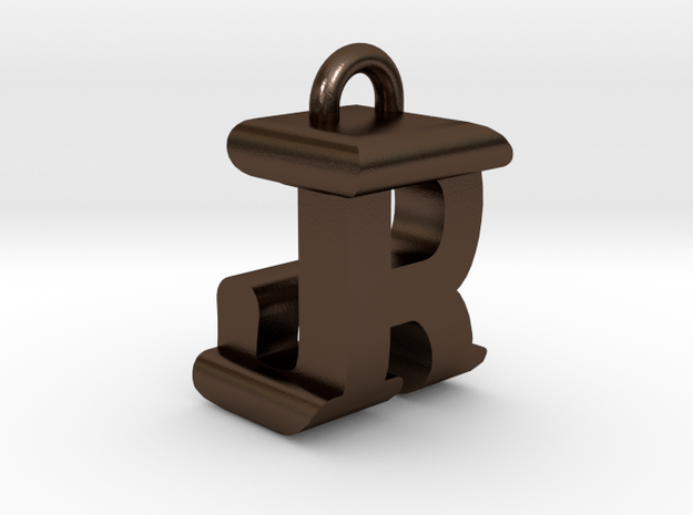 3D-Initial-JR in Polished Bronze Steel