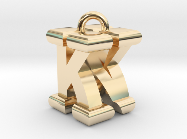 3D-Initial-KN in 14k Gold Plated Brass