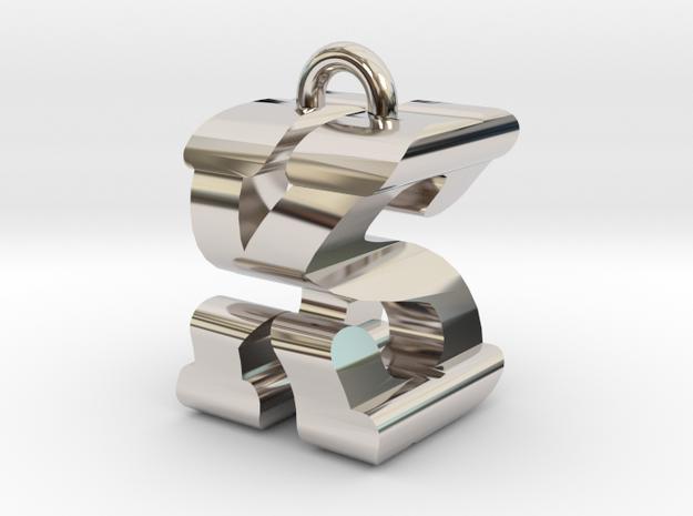 3D-Initial-KS in Rhodium Plated Brass