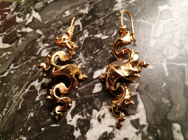 Dragon Earrings with integrated hooks - 5cm 3d printed Gold Plated