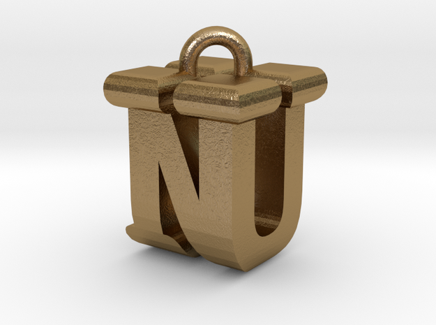 3D-Initial-NU in Polished Gold Steel