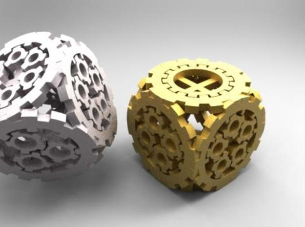 Smaller Steampunk D6 3d printed KeyShot Gold and Stainless Render