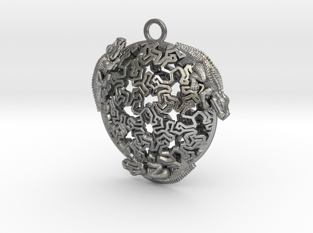Reptiles Pendant, 1.75 inch. in Natural Silver