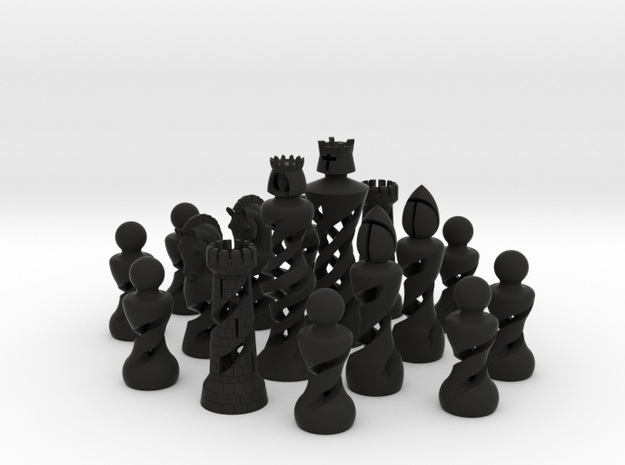 Helix Chess set in standard size (One Color) in Black Strong & Flexible