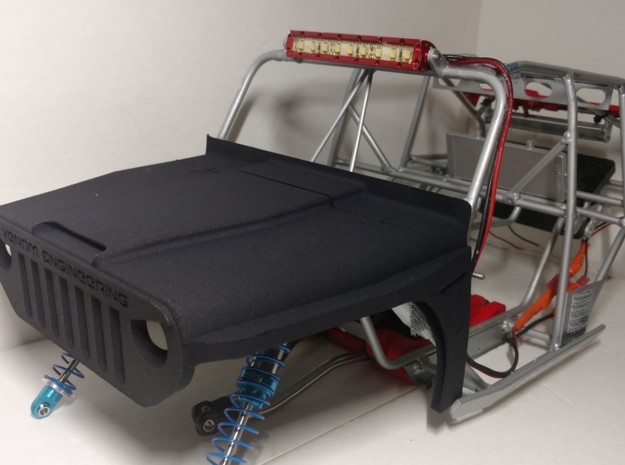 RC Crawler Jeep Hood in White Strong & Flexible