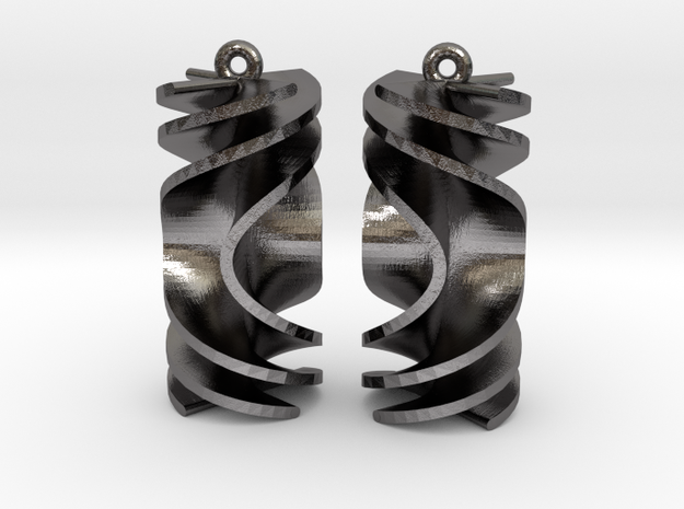 Parabolic Rotini Earrings in Polished Nickel Steel