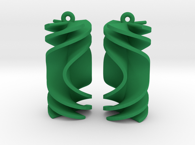 Parabolic Rotini Earrings in Green Processed Versatile Plastic